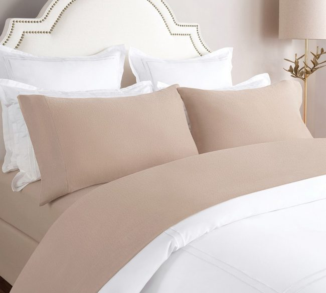 Cozy Cotton Solid Flannel Sheet Set in Taupe From Lelaan Shopping Store