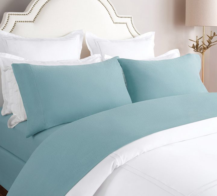 Solid Flannel Sheet Set in Stone Blue
