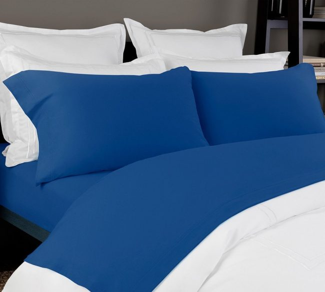 Take Deep Sleep And Reduce Anxiety On Our Extremely Stretchable Jersey Sheet Set Cobalt Blue Solid In