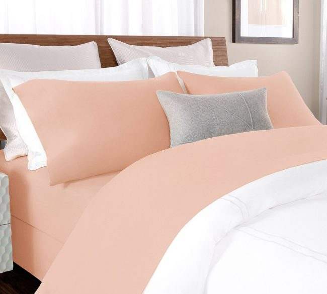 percale sheet set in Blush