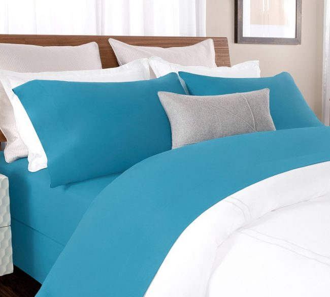 Buy Online Solid Percale Sheet Set in Blue - Percale Bed Sheet In Blue