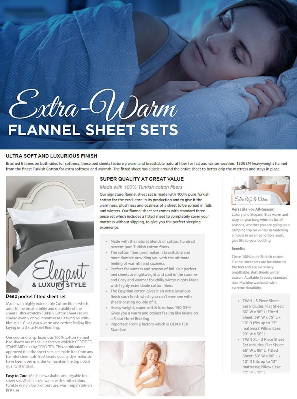 pure Turkish cotton Flannel sheet sets