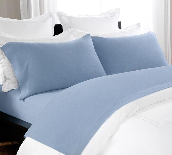 Rest Peacefully, In Our Intimately Woven, Hundred Percent Cotton, Gorgeous Mélange Sheet Set In a Blue Chambray Color, A Mélange Fitted Sheet With Deep Pockets, And Pillowcases, Perfect For Any Season