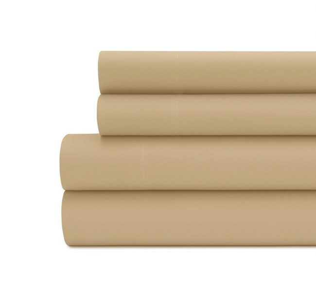 Solid percale sheet set in Tan