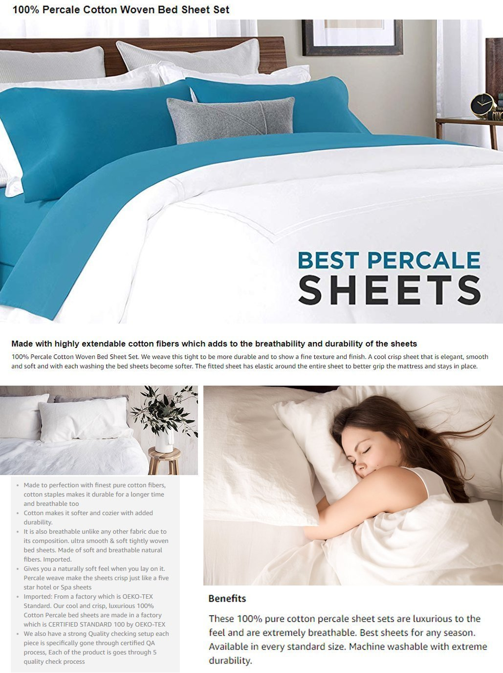 Luxury Percale sheet set, Five Star Hotel Bedding