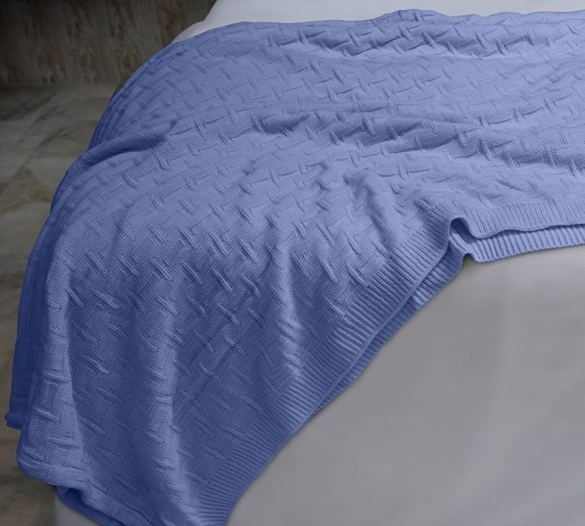 Basket Weave Cotton Blue 1