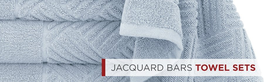 Jacquard Bars Spa Quality Bath Towels Sets