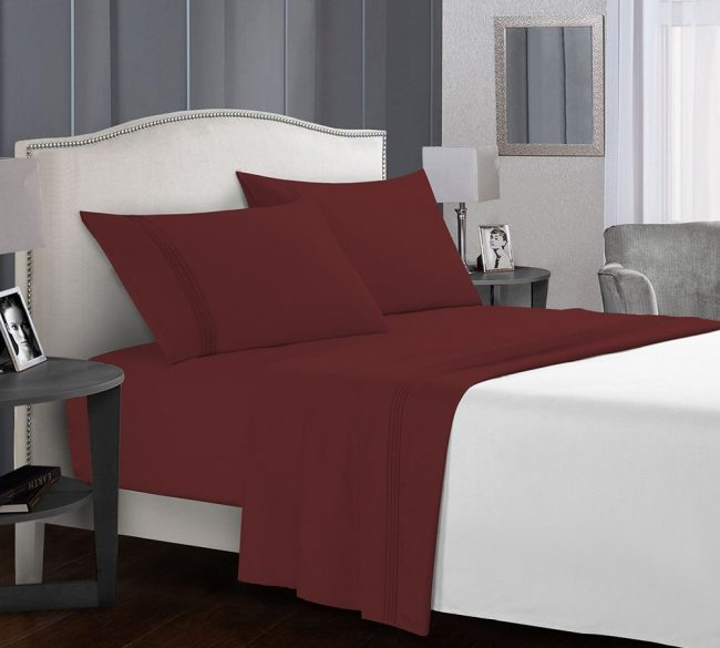 Microfiber Sheet sets Velvel Burgundy Bed