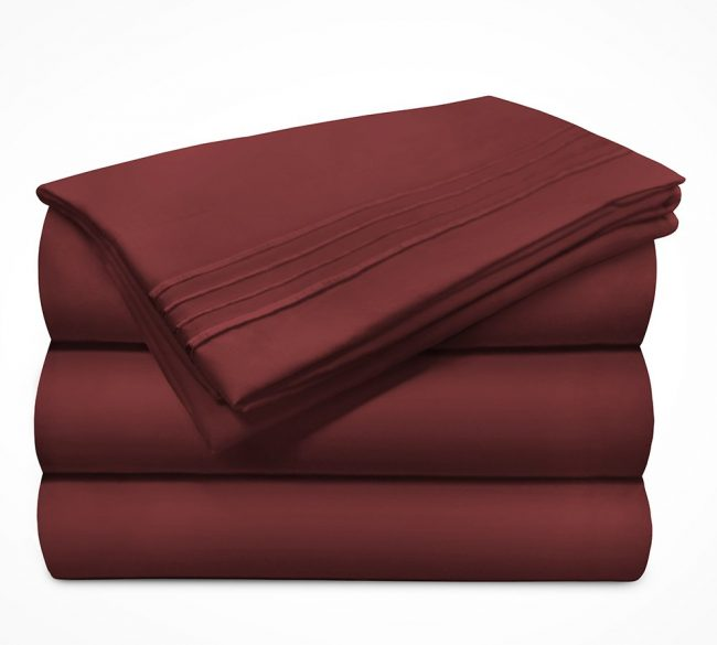 Microfiber Sheet sets Velvel Burgundy Stack-1