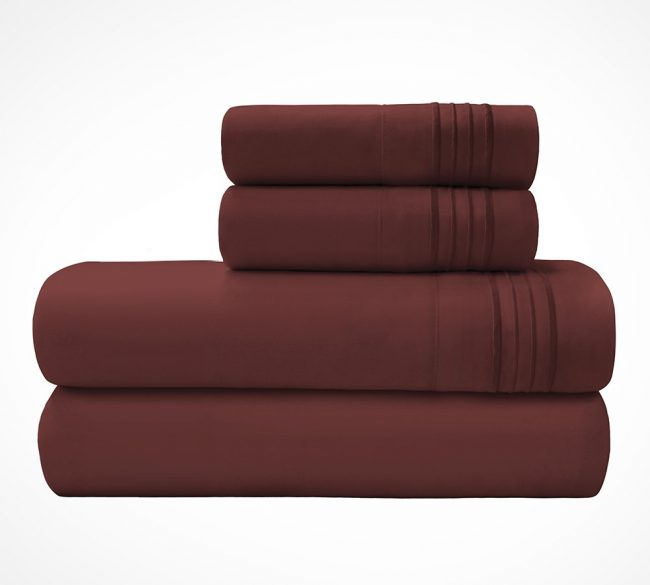 Microfiber Sheet sets Velvel Burgundy Stack-2